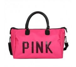 Велика спортивна сумка жіноча тканинна малинова