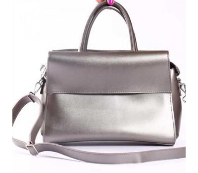 Стильная сумка-саквояж серебристая