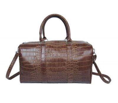 Большая сумка с принтом крокодила коричневая