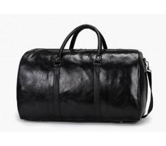 Большая дорожная сумка с кожзама черная