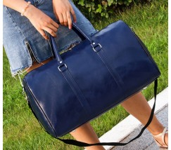 Велика дорожня сумка з шкірозамінника синя