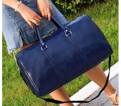 Большая дорожная сумка с кожзама синяя