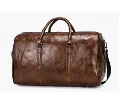 Велика дорожня сумка з шкірозамінника коричнева