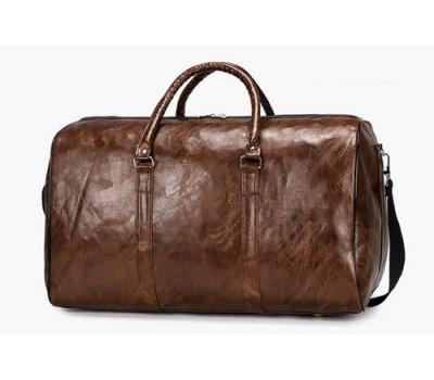 Большая дорожная сумка с кожзама коричневая