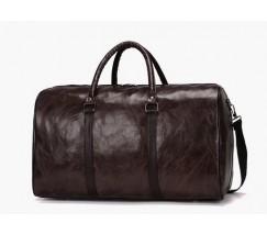 Велика дорожня сумка з шкірозамінника темно-коричнева