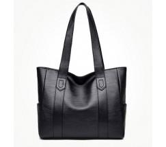 Большая классическая сумка шоппер черная