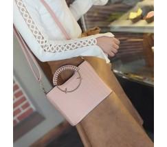 Елегантна жіноча сумка з круглими ручками рожева