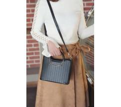 Елегантна жіноча сумка з круглими ручками чорна