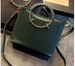 Елегантна жіноча сумка з круглими ручками зелена