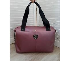 Вместительная спортивная сумка кожзам бордовая