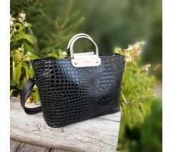 Большая черная сумка с принтом крокодила