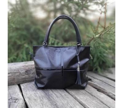 Женская большая сумка черная с тиснением