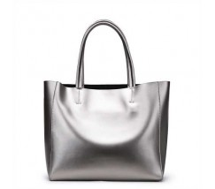 Женская сумка кожаная цвет серебро
