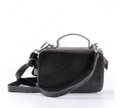 Женская кожаная маленькая сумка черная