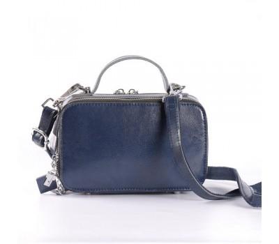 Женская кожаная маленькая сумка синяя