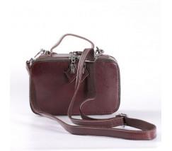 Женская кожаная маленькая сумка коричневая