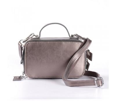 Женская кожаная маленькая сумка бронзовая