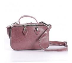 Женская кожаная маленькая сумка розовая