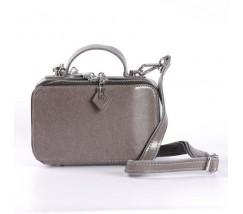 Женская кожаная маленькая сумка серая