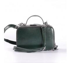 Женская кожаная маленькая сумка зеленая