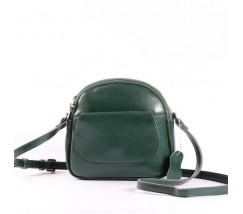 Маленька жіноча сумка з натуральної шкіри зелена