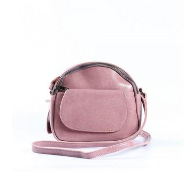 Маленькая женская сумка из натуральной кожи розовая