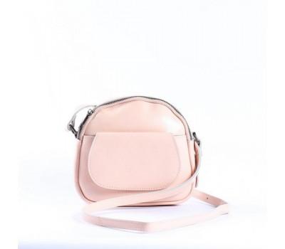 Маленькая женская сумка из натуральной кожи светло-розовая