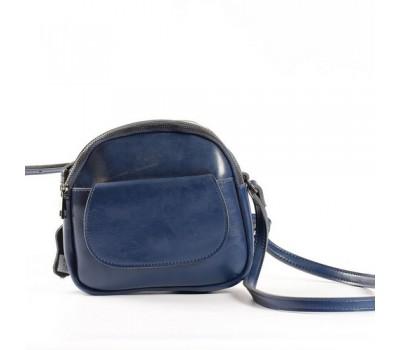 Маленькая женская сумка из натуральной кожи синяя