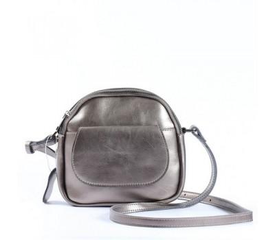 Маленькая женская сумка из натуральной кожи серебристая