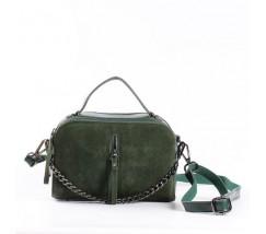 Женская сумка-клатч из натуральной кожи и замши зеленая