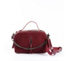 Женская сумка-клатч из натуральной кожи и замши красная