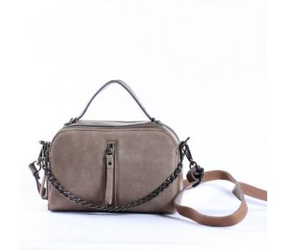 Женская сумка-клатч из натуральной кожи и замши серая