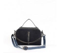 Женская сумка-клатч из натуральной кожи и замши синяя