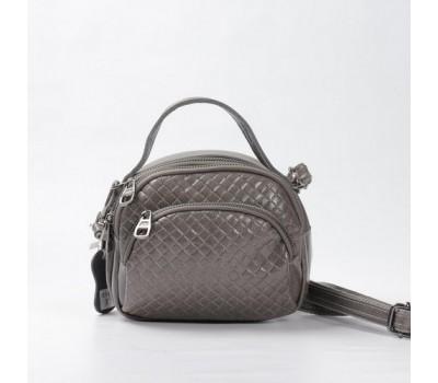 Женская сумка-клатч из натуральной кожи серая