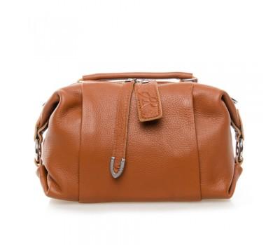 Женская сумка-бочонок кожаная коричневая