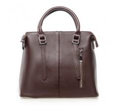 Жіноча сумка темно-коричнева з м'якої натуральної шкіри