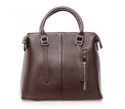 Женская сумка темно-коричневая с мягкой натуральной кожи