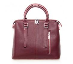 Жіноча сумка бордова з м'якої натуральної шкіри