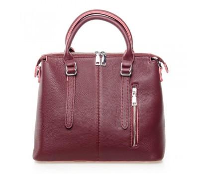 Женская сумка бордовая с мягкой натуральной кожи