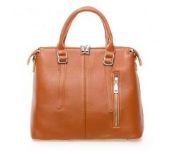 Жіноча сумка світло-коричнева з м'якої натуральної шкіри