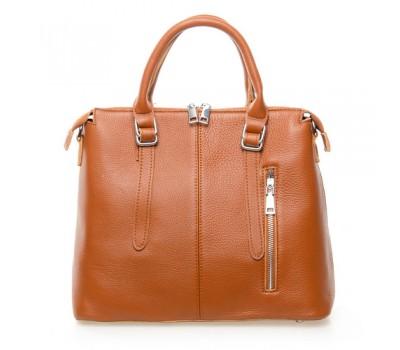 Женская сумка светло-коричневая с мягкой натуральной кожи