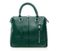 Жіноча сумка зелена з м'якої натуральної шкіри