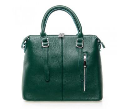 Женская сумка зеленая с мягкой натуральной кожи