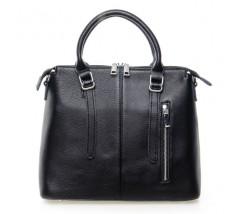 Жіноча сумка чорна з м'якої натуральної шкіри