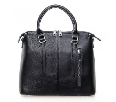 Женская сумка черная с мягкой натуральной кожи