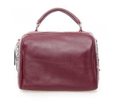 Женская компактная сумка с натуральной кожи бордовая