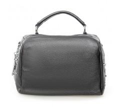 Жіноча компактна сумка з натуральної шкіри сіра