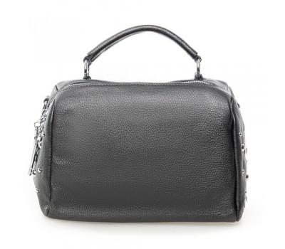 Женская компактная сумка с натуральной кожи серая
