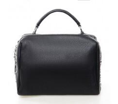 Жіноча компактна сумка з натуральної шкіри чорна