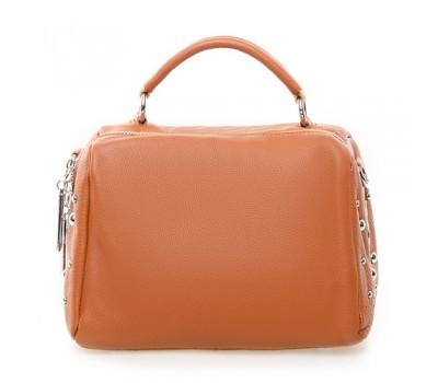 Женская компактная сумка с натуральной кожи коричневая